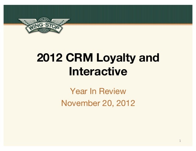 2012 CRM Loyalty and Interactive Year In Review November 20, 2012  1