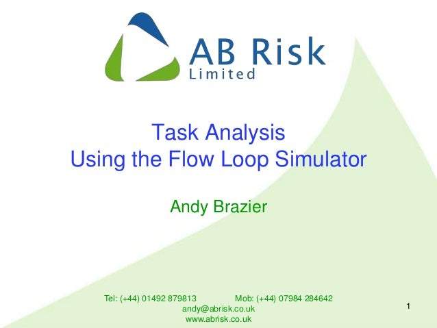 Tel: (+44) 01492 879813 Mob: (+44) 07984 284642 andy@abrisk.co.uk www.abrisk.co.uk 1 Task Analysis Using the Flow Loop Sim...