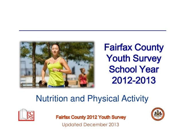 Fairfax County Youth Survey School Year 2012-2013 Nutrition and Physical Activity Fairfax County 2012 Youth Survey Updated...