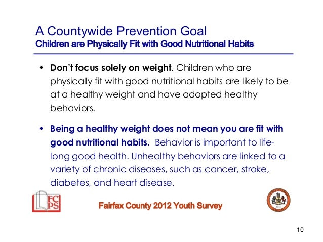 Fairfax County Youth Survey Year 2012 2013 Nutrition And