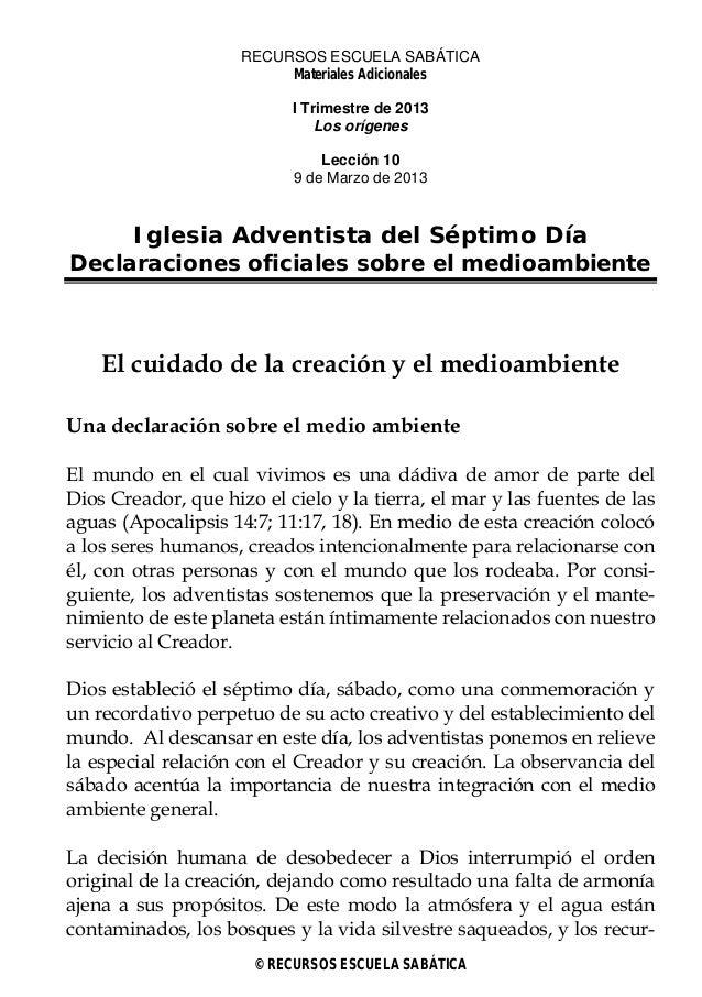 RECURSOS ESCUELA SABÁTICA                          Materiales Adicionales                           I Trimestre de 2013   ...