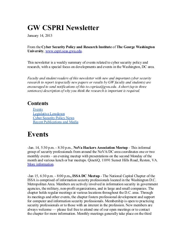 GW CSPRI NewsletterJanuary 14, 2013From the Cyber Security Policy and Research Institute of The George WashingtonUniversit...