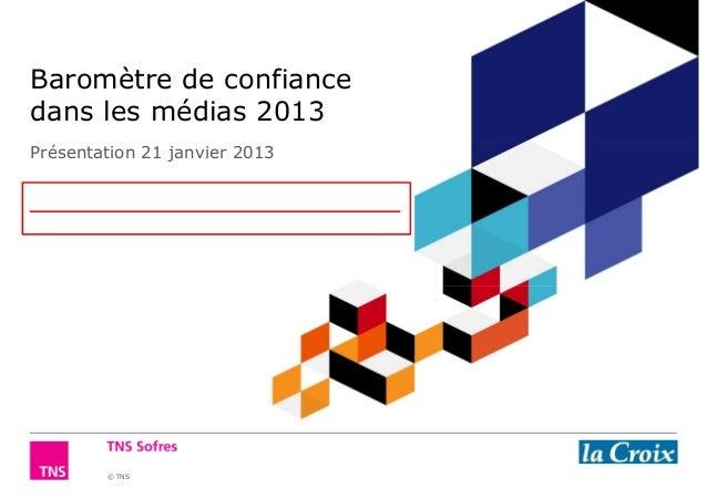 Baromètre de confiancedans les médias 2013Présentation 21 janvier 2013        © TNS