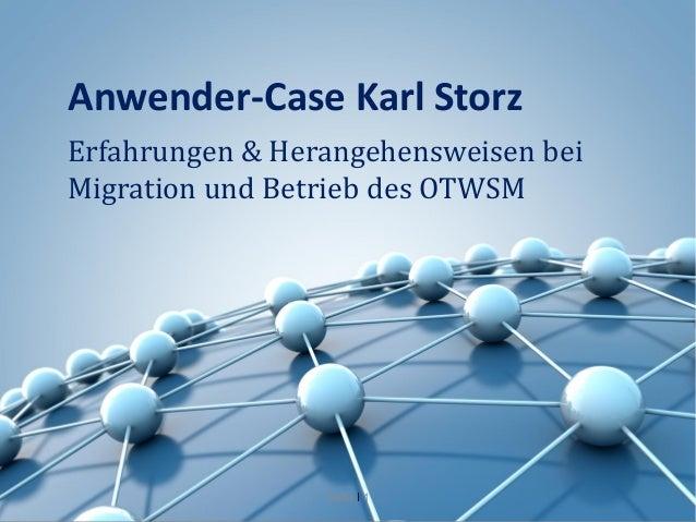 Anwender-Case Karl StorzErfahrungen & Herangehensweisen beiMigration und Betrieb des OTWSM                 Seite I 1
