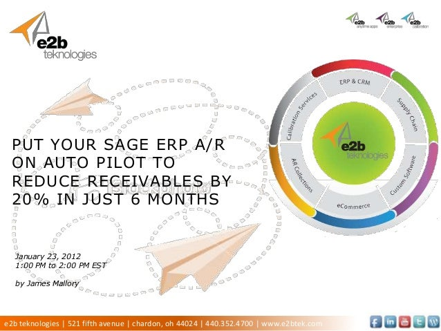 PUT YOUR SAGE ERP A/R ON AUTO PILOT TO REDUCE RECEIVABLES BY 20% IN JUST 6 MONTHS  January 23, 2012  1:00 PM to 2:00 PM ES...