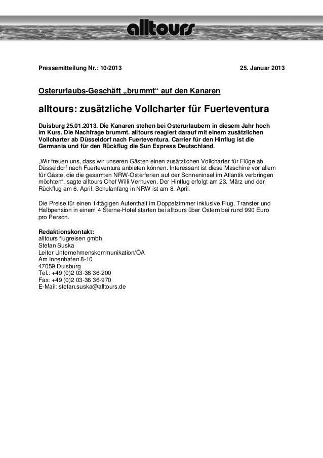 "Pressemitteilung Nr.: 10/2013                                             25. Januar 2013Osterurlaubs-Geschäft ""brummt"" au..."