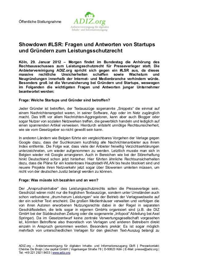 Öffentliche StellungnahmeShowdown #LSR: Fragen und Antworten von Startupsund Gründern zum LeistungsschutzrechtKöln, 29. Ja...