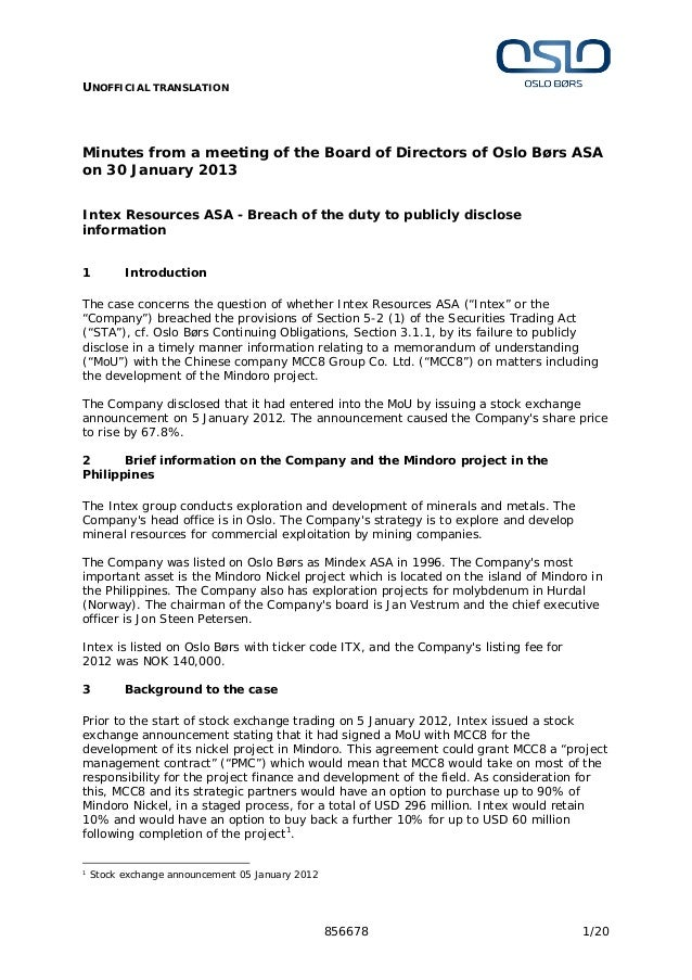 UNOFFICIAL TRANSLATION856678 1/20Minutes from a meeting of the Board of Directors of Oslo Børs ASAon 30 January 2013Intex ...