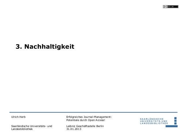 3. NachhaltigkeitUlrich Herb                       Erfolgreiches Journal-Management:                                  Pote...