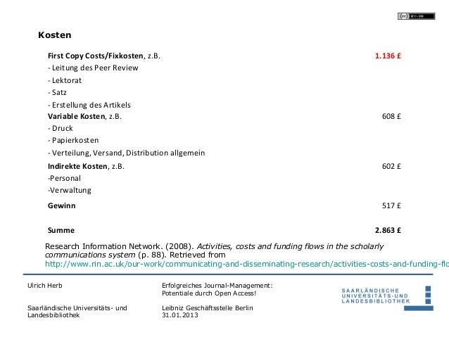 Kosten      First Copy Costs/Fixkosten, z.B.                                                  1.136 £      - Leitung des P...