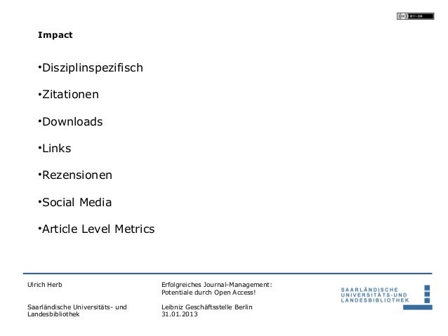 Impact   •Disziplinspezifisch   •Zitationen   •Downloads   •Links   •Rezensionen   •Social Media   •Article Level MetricsU...