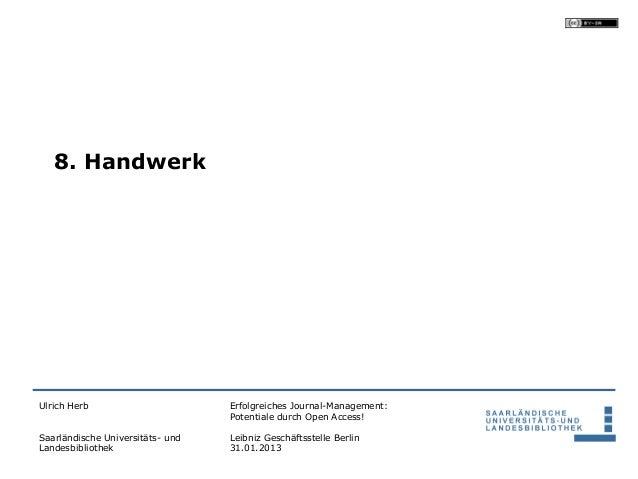 8. HandwerkUlrich Herb                       Erfolgreiches Journal-Management:                                  Potentiale...