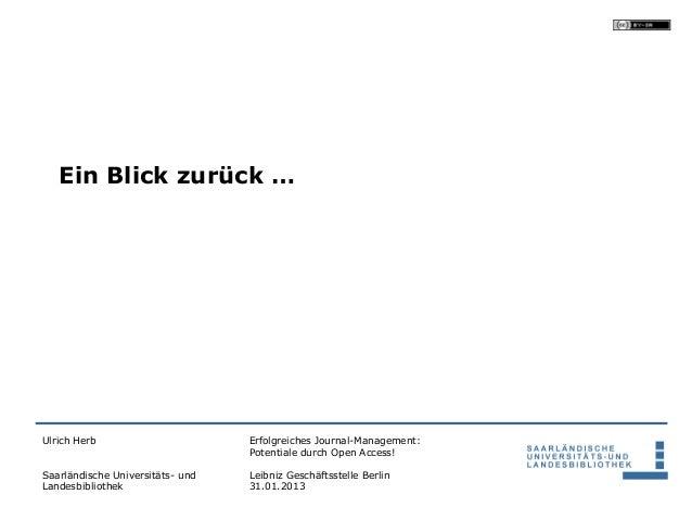 Ein Blick zurück …Ulrich Herb                       Erfolgreiches Journal-Management:                                  Pot...