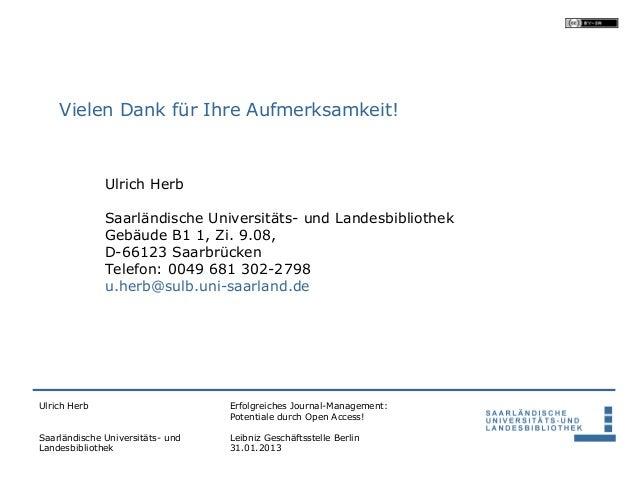 Vielen Dank für Ihre Aufmerksamkeit!              Ulrich Herb              Saarländische Universitäts- und Landesbibliothe...