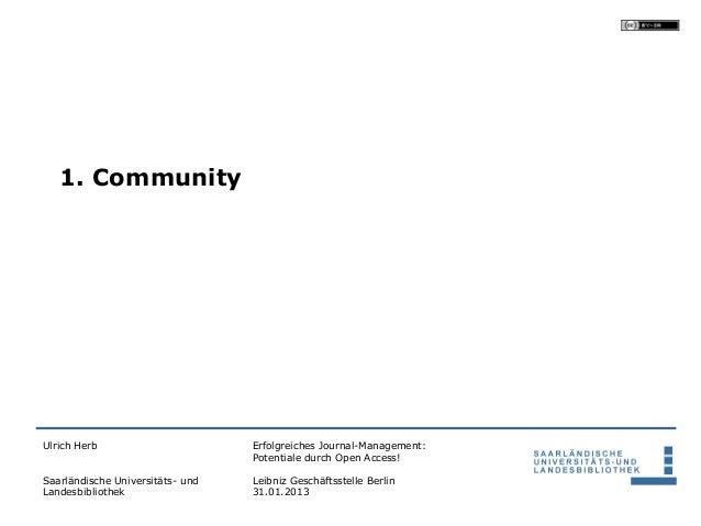 1. CommunityUlrich Herb                       Erfolgreiches Journal-Management:                                  Potential...