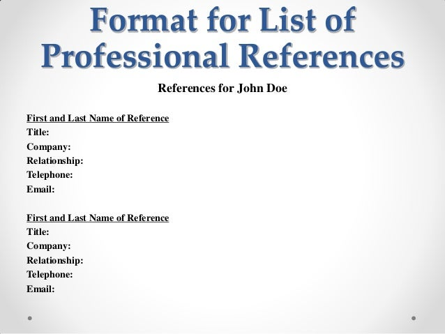 list of professional references