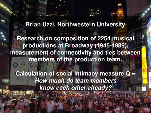 Brian Uzzi, Northwestern University Research on composition of 2254 musical   productions at Broadway (1945-1989),measurem...