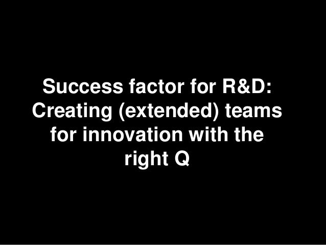 24 Success factor for R&D:Creating (extended) teams  for innovation with the          right Q