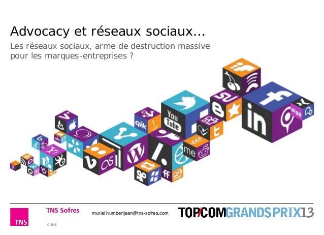© TNS Advocacy et réseaux sociaux… Les réseaux sociaux, arme de destruction massive pour les marques-entreprises ? muriel....
