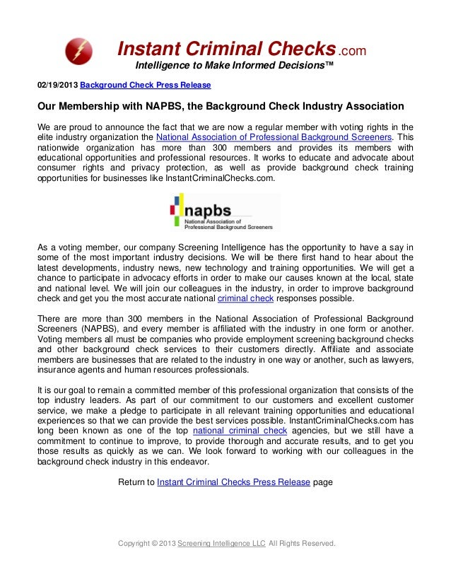 Instant Criminal Checks .com                         Intelligence to Make Informed Decisions™02/19/2013 Background Check P...