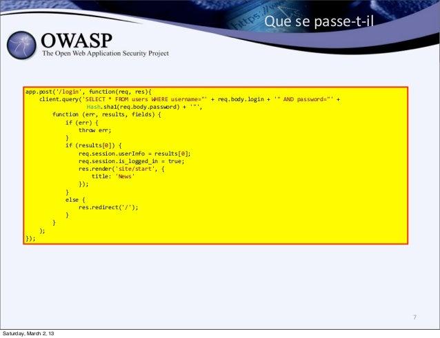 Que se passe-‐t-‐il         app.post(/login, function(req, res){             client.query(SELECT * F...