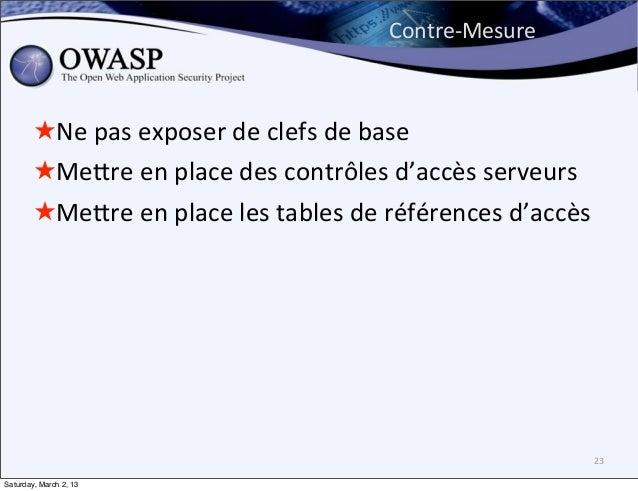 Contre-‐Mesure        ★Ne pas exposer de clefs de base        ★Mebre en place des contrôles d'accès...