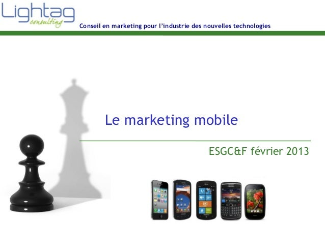 Conseil en marketing pour l'industrie des nouvelles technologies Le marketing mobile ESGC&F février 2013