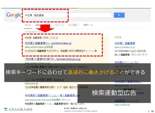 検索キーワードに合わせて直接的に働きかけることができる                                                     検索連動型広告           第三者への情報開示を一切禁止します。      ...