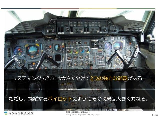 リスティング広告には大きく分けて2つの強力な武器がある。ただし、操縦するパイロットによってその効果は大きく異なる。           第三者への情報開示を一切禁止します。           Copyright © 2012 Anagrams...
