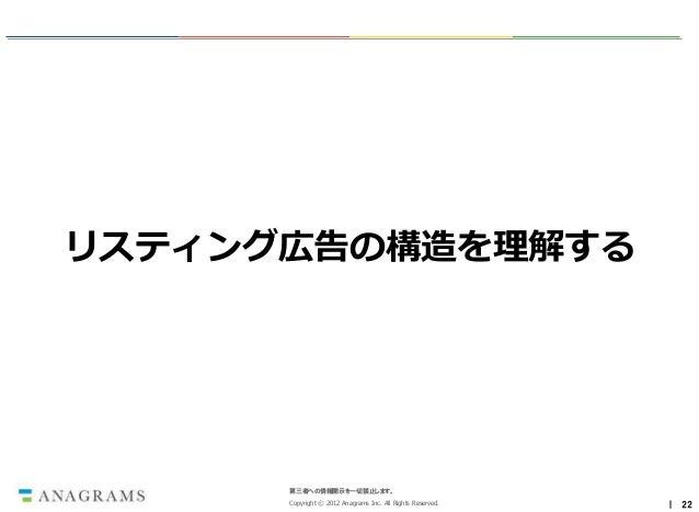 リスティング広告の構造を理解する      第三者への情報開示を一切禁止します。      Copyright © 2012 Anagrams Inc. All Rights Reserved.   | 22