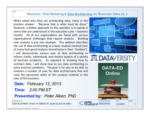 TITLE                                             Welcome: Data Modeling & Data Architecting for Business Value pt. 2     ...