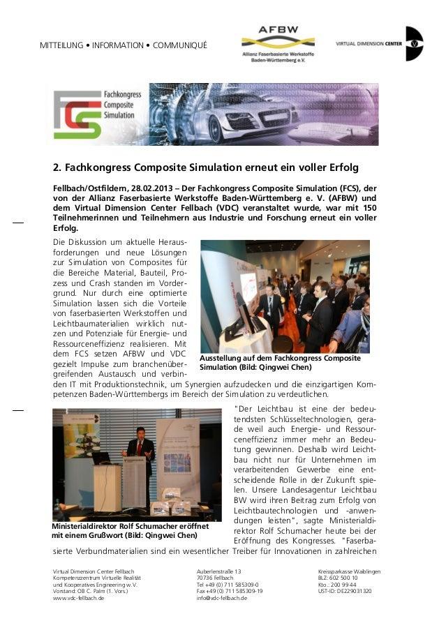 MITTEILUNG • INFORMATION • COMMUNIQUÉ  2. Fachkongress Composite Simulation erneut ein voller Erfolg  Fellbach/Ostfildern,...