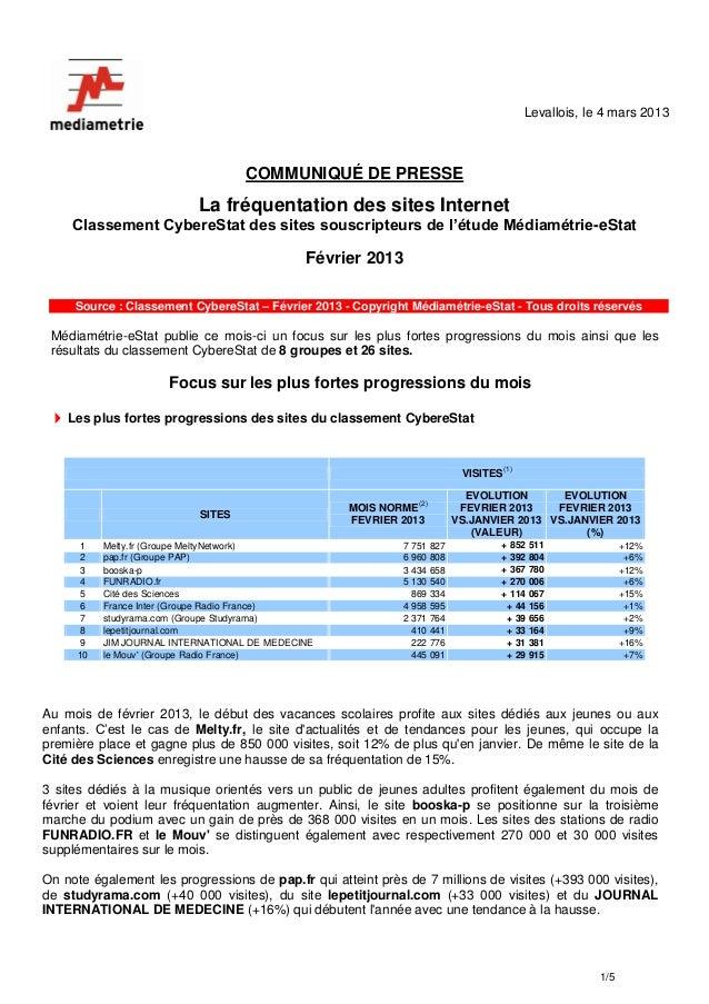 Levallois, le 4 mars 2013                                    COMMUNIQUÉ DE PRESSE                           La fréquentati...