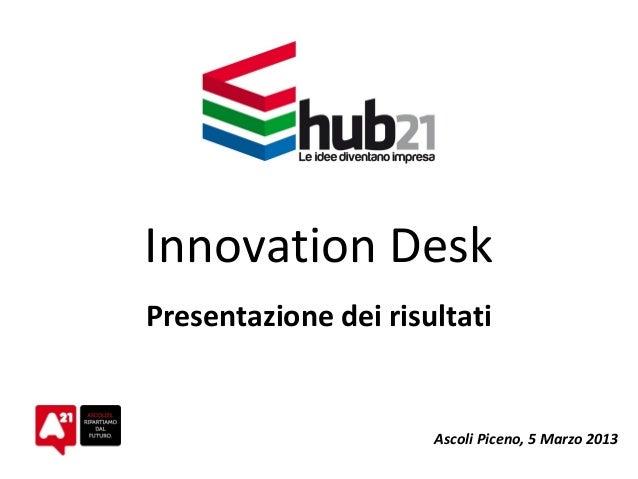 Innovation Desk Presentazione dei risultati Ascoli Piceno, 5 Marzo 2013