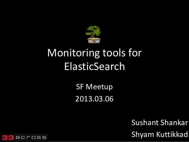 Monitoring tools for  ElasticSearch     SF Meetup     2013.03.06                  Sushant Shankar                  Shyam K...