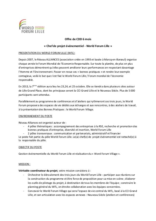 Cdd Chef De Projet 233 V 233 Nementiel World Forum Lille