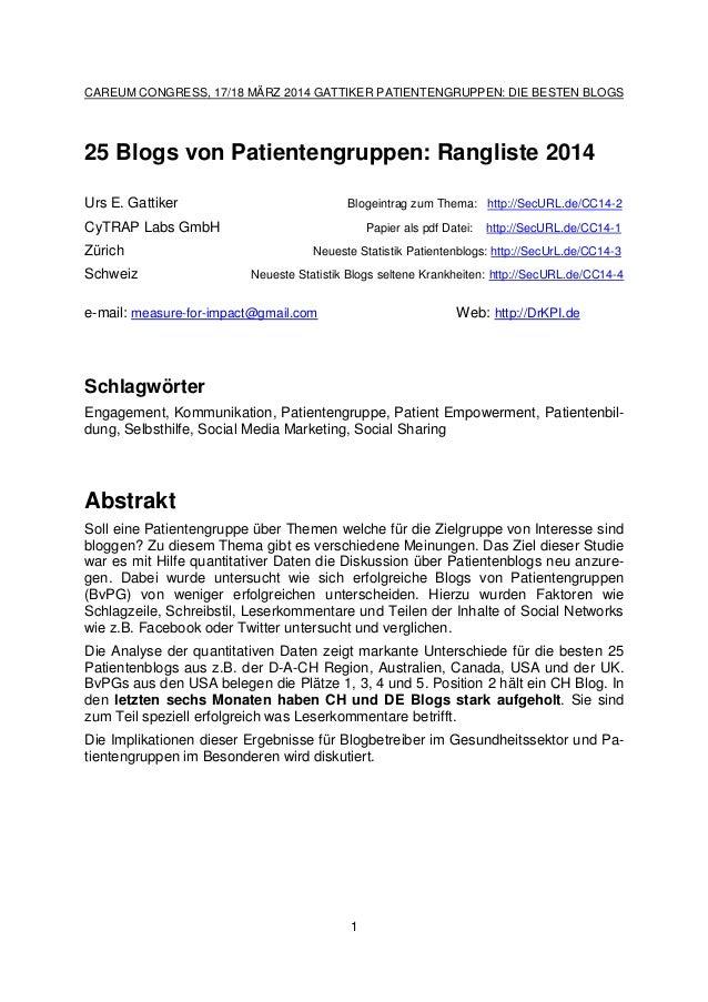 CAREUM CONGRESS, 17/18 MÄRZ 2014 GATTIKER PATIENTENGRUPPEN: DIE BESTEN BLOGS 1 25 Blogs von Patientengruppen: Rangliste 20...
