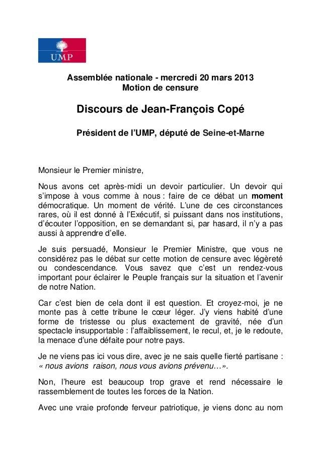 Assemblée nationale - mercredi 20 mars 2013                   Motion de censure           Discours de Jean-François Copé  ...