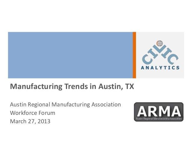 Manufacturing Trends in Austin, TXAustin Regional Manufacturing AssociationWorkforce ForumMarch 27, 2013