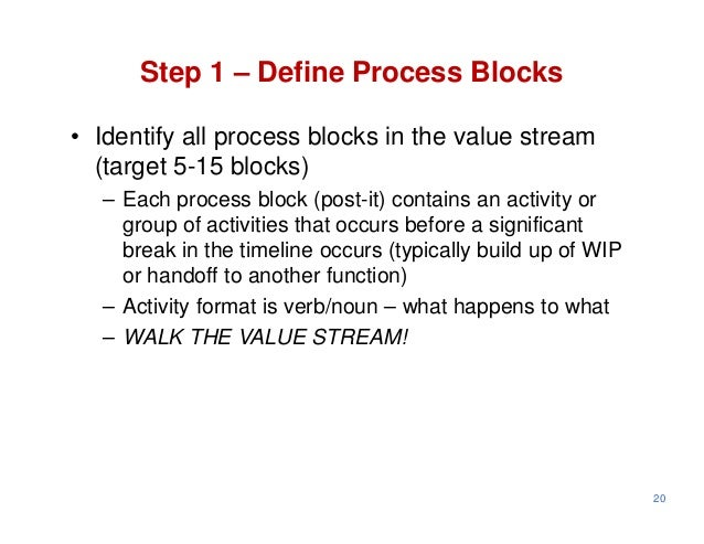 Step 1 – Define Process Blocks• Identify all process blocks in the value stream  (target 5-15 blocks)  – Each process bloc...