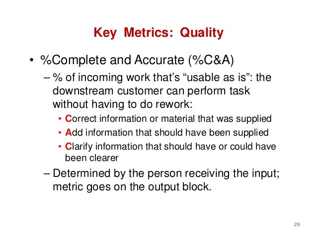 """Key Metrics: Quality• %Complete and Accurate (%C&A)  – % of incoming work that's """"usable as is"""": the    downstream custome..."""