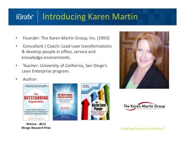 Introducing Karen Martin•    Founder: The Karen Martin Group, Inc. (1993)•   Consultant / Coach: Lead Lean transformations...