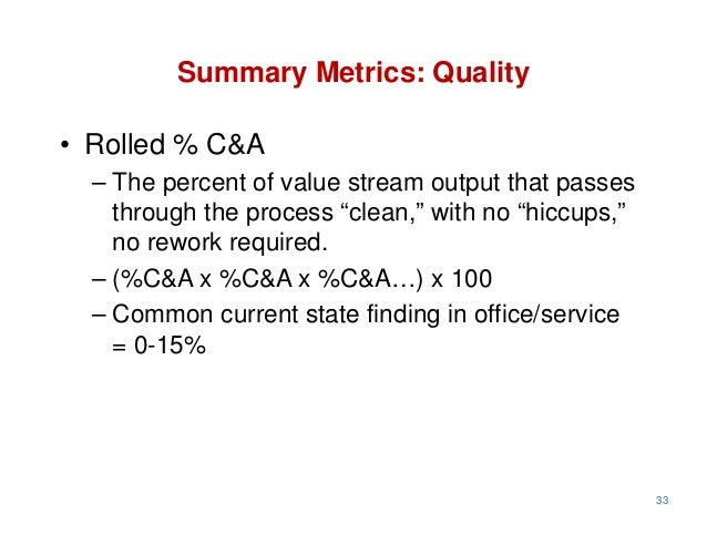 """Summary Metrics: Quality• Rolled % C&A  – The percent of value stream output that passes    through the process """"clean,"""" w..."""