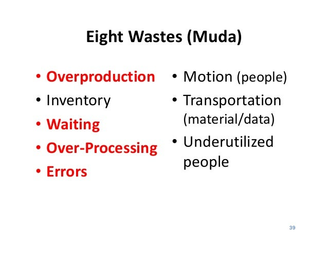 Eight Wastes (Muda)•   Overproduction • Motion (people)•   Inventory       • Transportation•   Waiting           (material...