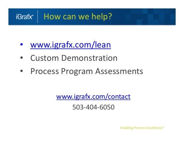How can we help?• www.igrafx.com/lean• Custom Demonstration• Process Program Assessments        www.igrafx.com/contact    ...