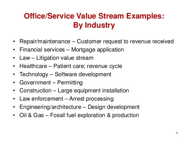 Office/Service Value Stream Examples:                   By Industry•   Repair/maintenance – Customer request to revenue re...
