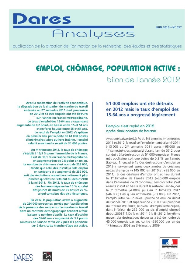 Analyses Dares publication de la direction de l'animation de la recherche, des études et des statistiques juin 2013 • N° 0...
