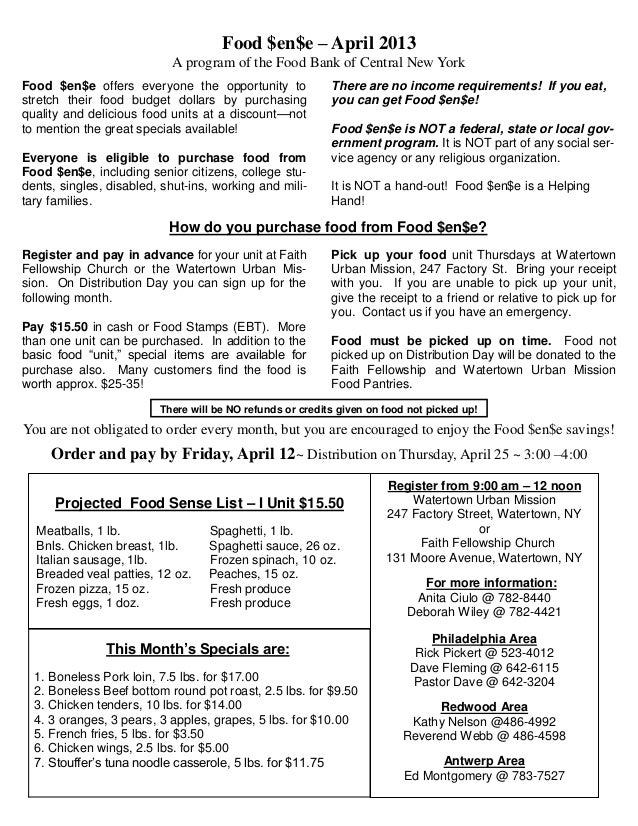 Food $en$e – April 2013                           A program of the Food Bank of Central New YorkFood $en$e offers everyone...