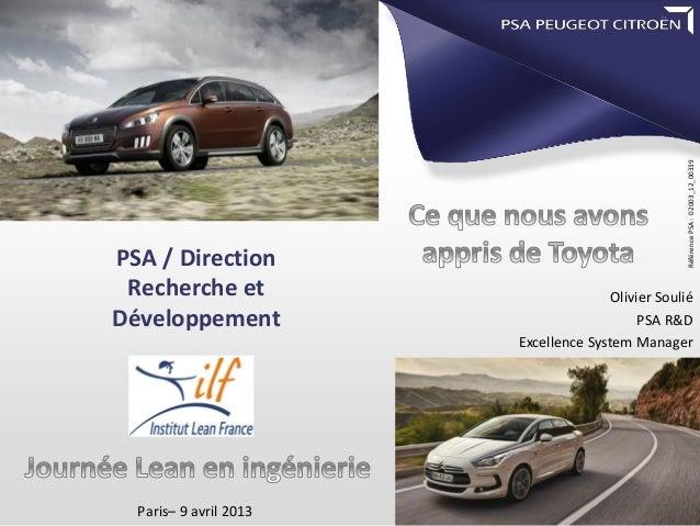 Référence PSA : 02003_12_00339PSA / Direction Recherche et                         Olivier SouliéDéveloppement            ...