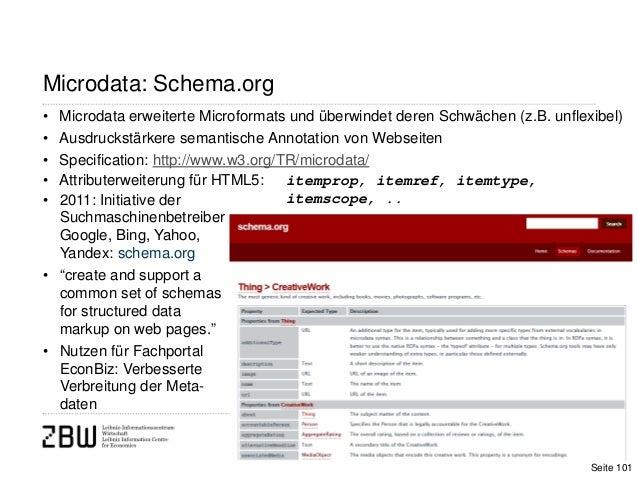 • Microdata erweiterte Microformats und überwindet deren Schwächen (z.B. unflexibel)• Ausdruckstärkere semantische Annotat...